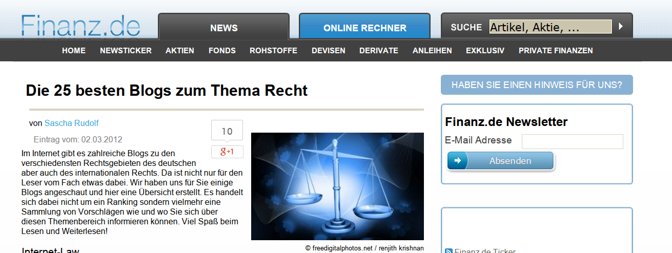 Die 25 besten Blogs zum Thema Recht